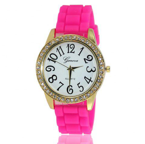 New Fashion Ladies Watch Classic Pop Simple Style Silicone Strap Personalized Diamond Watch with Gift Box - ROSE RED
