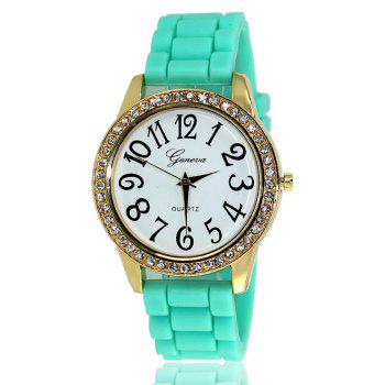 New Fashion Ladies Watch Classic Pop Simple Style Silicone Strap Personalized Diamond Watch with Gift Box - MINT MINT