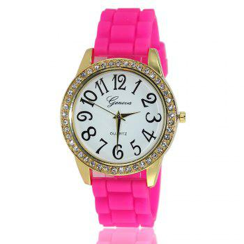 New Fashion Ladies Watch Classic Pop Simple Style Silicone Strap Personalized Diamond Watch with Gift Box - ROSE RED ROSE RED