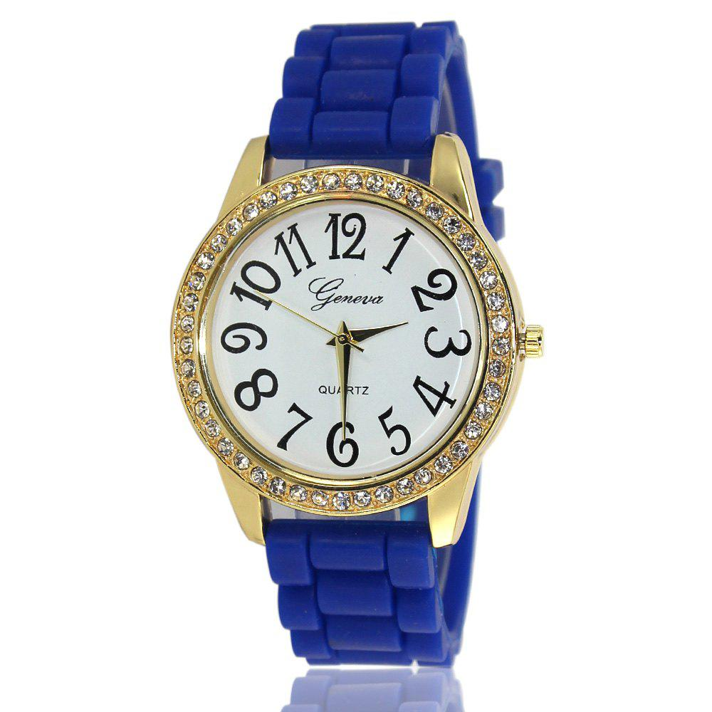 New Fashion Ladies Watch Classic Pop Simple Style Silicone Strap Personalized Diamond Watch with Gift Box - BLUE