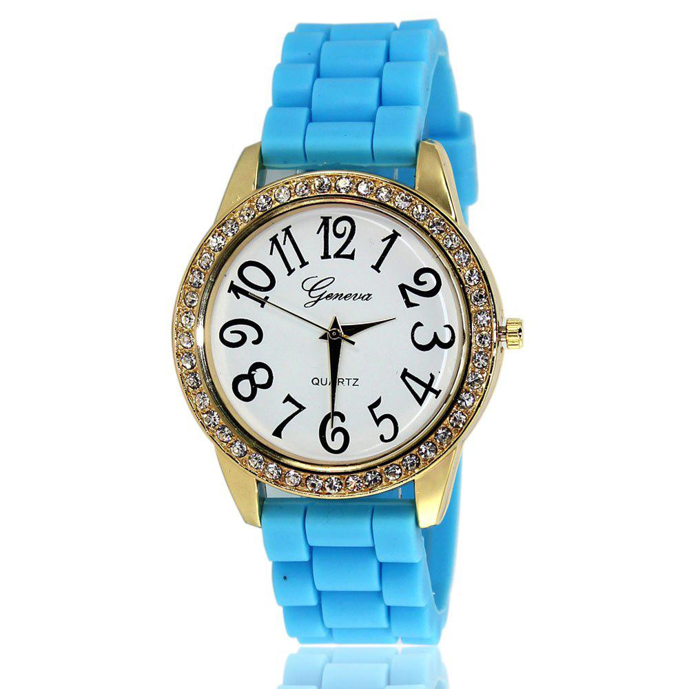 New Fashion Ladies Watch Classic Pop Simple Style Silicone Strap Personalized Diamond Watch with Gift Box - LIGHT BLUE
