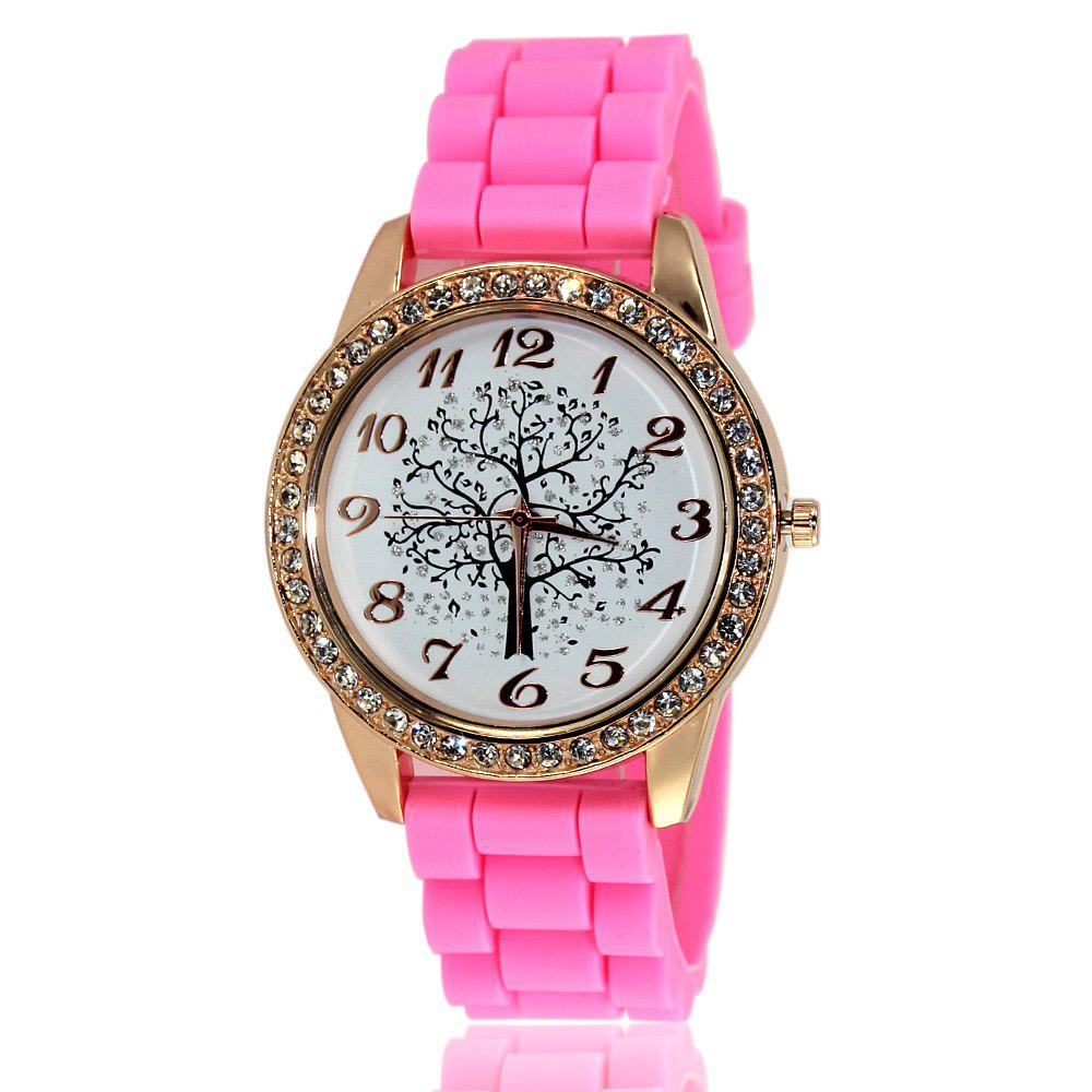 Fashionable Women'S Watch Classic Minimalist Style Silicone Strap Wishing Tree Shades Diamond Watch with Gift Box - PINK