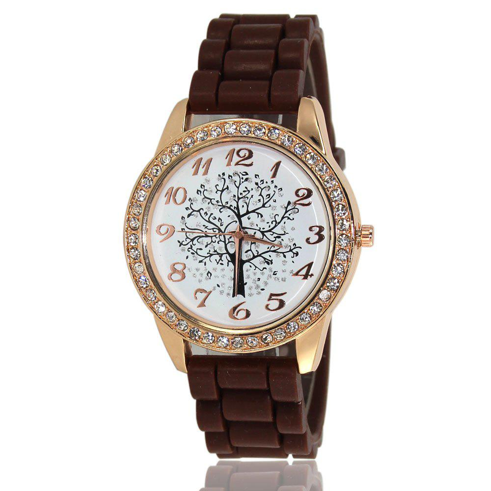 Fashionable Women'S Watch Classic Minimalist Style Silicone Strap Wishing Tree Shades Diamond Watch with Gift Box - COFFEE