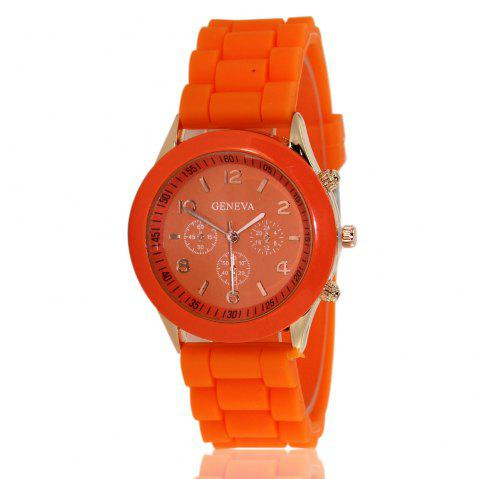 New Popular Women'S Watch Simple and Cute Style Silicone Strap Fashion Sports Watch with Gift Box - ORANGE