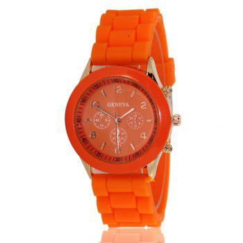 New Popular Women'S Watch Simple and Cute Style Silicone Strap Fashion Sports Watch with Gift Box - ORANGE ORANGE