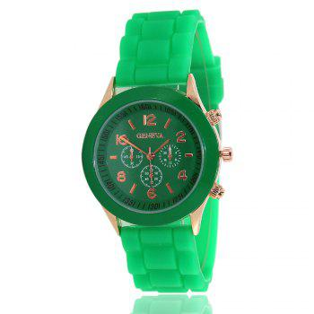 New Popular Women'S Watch Simple and Cute Style Silicone Strap Fashion Sports Watch with Gift Box - GREEN GREEN
