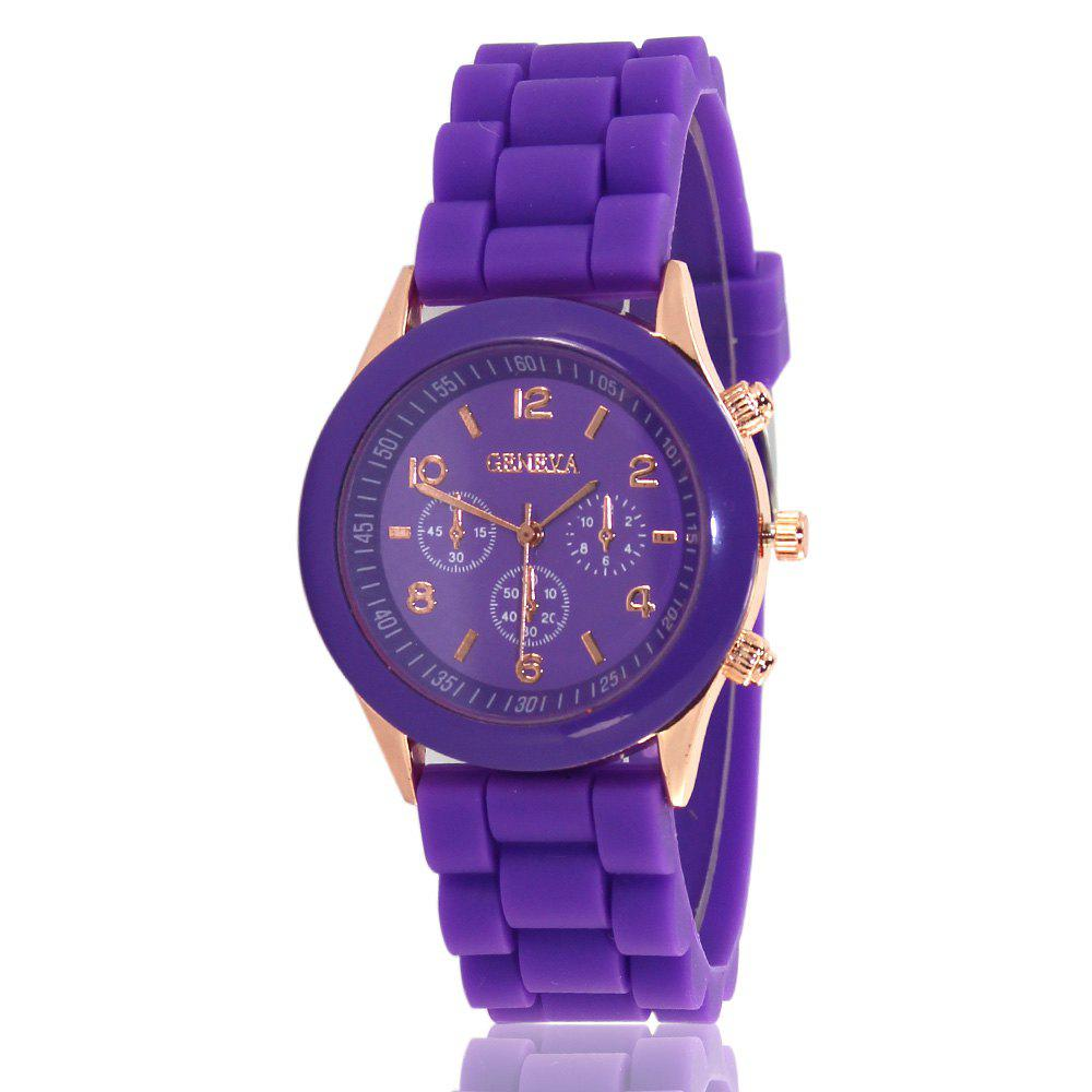 New Popular Women'S Watch Simple and Cute Style Silicone Strap Fashion Sports Watch with Gift Box - PURPLE