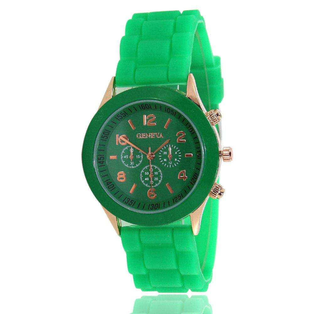 New Popular Women'S Watch Simple and Cute Style Silicone Strap Fashion Sports Watch with Gift Box - GREEN