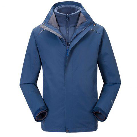 Autumn and Winter Outdoor Jackets Thickened Mountaineering Suits and Three Sets of Windproof Warm Andes Men - DEEP BLUE 3XL