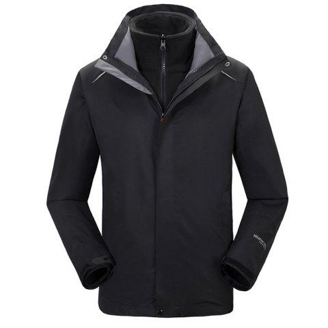 Autumn and Winter Outdoor Jackets Thickened Mountaineering Suits and Three Sets of Windproof Warm Andes Men - BLACK 3XL