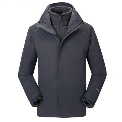 Autumn and Winter Outdoor Jackets Thickened Mountaineering Suits and Three Sets of Windproof Warm Andes Men - GRAY M