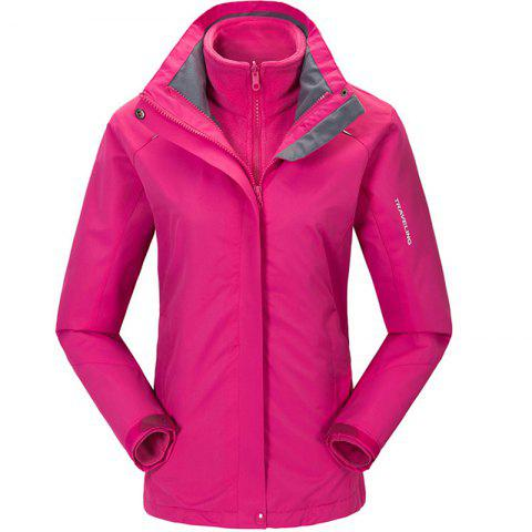 Autumn and Winter Outdoor Jackets Thickened Mountaineering Suits and Three Sets of Windproof Warm Andes Men - ROSE RED XL