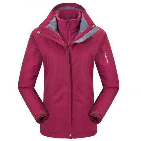 Autumn and Winter Outdoor Jackets Thickened Mountaineering Suits and Three Sets of Windproof Warm Andes Men - CLARET XL