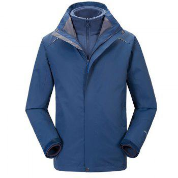 Autumn and Winter Outdoor Jackets Thickened Mountaineering Suits and Three Sets of Windproof Warm Andes Men - DEEP BLUE DEEP BLUE