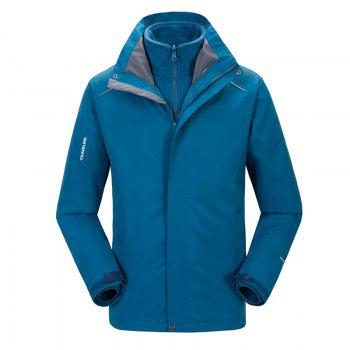 Autumn and Winter Outdoor Jackets Thickened Mountaineering Suits and Three Sets of Windproof Warm Andes Men - BLUE BLUE