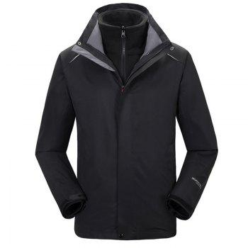 Autumn and Winter Outdoor Jackets Thickened Mountaineering Suits and Three Sets of Windproof Warm Andes Men - BLACK BLACK