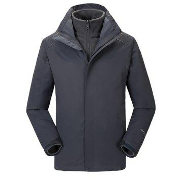 Autumn and Winter Outdoor Jackets Thickened Mountaineering Suits and Three Sets of Windproof Warm Andes Men - GRAY GRAY