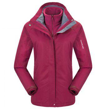 Autumn and Winter Outdoor Jackets Thickened Mountaineering Suits and Three Sets of Windproof Warm Andes Men - CLARET CLARET