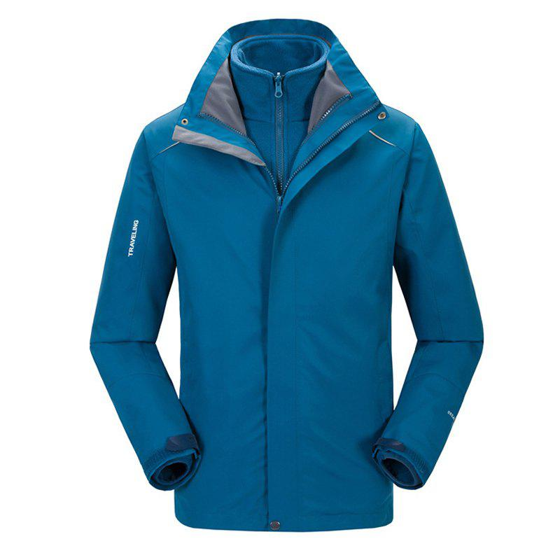 Autumn and Winter Outdoor Jackets Thickened Mountaineering Suits and Three Sets of Windproof Warm Andes Men - BLUE L