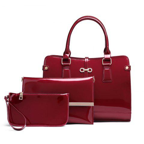 Three Pieces of New Mother Bag Patent Leather Bright Handbag Lady Diagonal Package - BURGUNDY