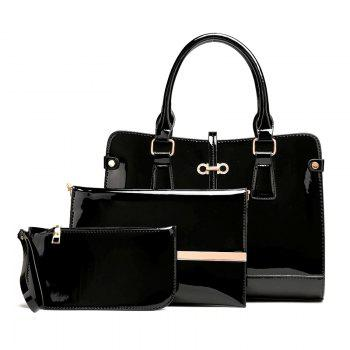 Three Pieces of New Mother Bag Patent Leather Bright Handbag Lady Diagonal Package - BLACK BLACK