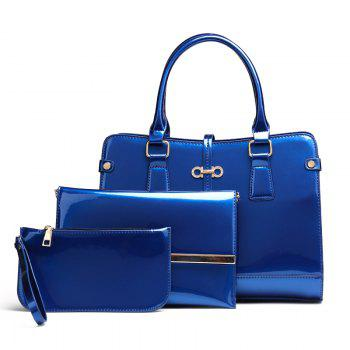 Three Pieces of New Mother Bag Patent Leather Bright Handbag Lady Diagonal Package - BLUE BLUE