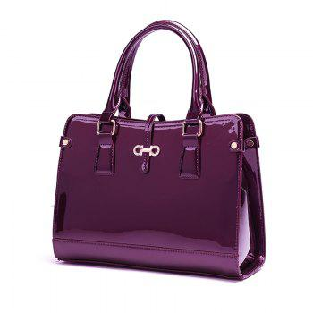 Three Pieces of New Mother Bag Patent Leather Bright Handbag Lady Diagonal Package - PURPLE