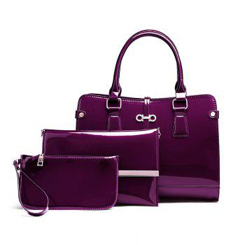 Three Pieces of New Mother Bag Patent Leather Bright Handbag Lady Diagonal Package - PURPLE PURPLE