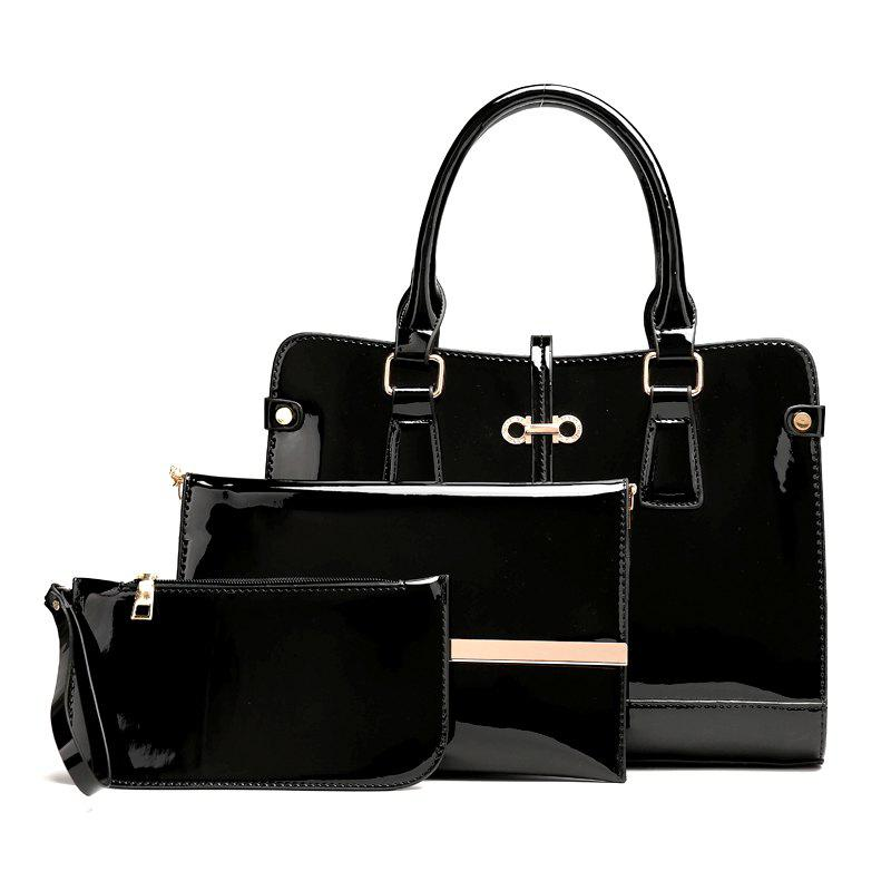 Three Pieces of New Mother Bag Patent Leather Bright Handbag Lady Diagonal Package - BLACK