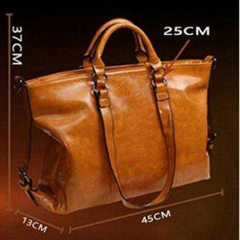 Retro Style Wax oil Cowhide Shoulder Bag Cross Body Bag Tote Handbag for Women Deep Brown -  DEEP BROWN