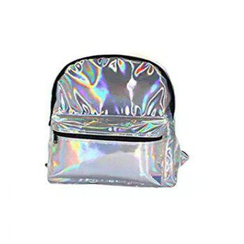 Girl's Silver Hologram Laser Leather School Backpack Travel Casual Daypack - SILVER SILVER