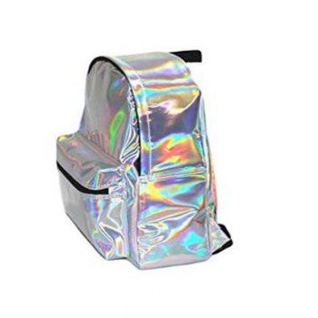 Girl's Silver Hologram Laser Leather School Backpack Travel Casual Daypack - SILVER