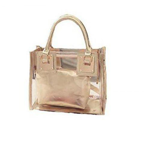 Womens Clear Transparent Shoulder Bag Jelly Candy Summer Beach Handbag Golden - GOLDEN