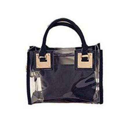 Womens Clear Transparent Sac à bandoulière Jelly Candy Summer Beach Sac à main noir - Noir