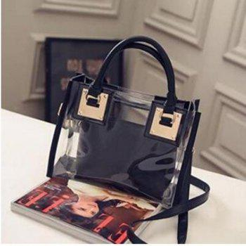 Womens Clear Transparent Shoulder Bag Jelly Candy Summer Beach Handbag Black - BLACK