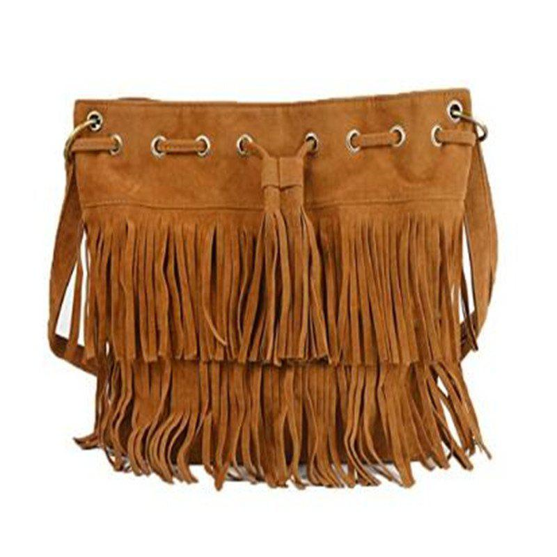 Celebrity Women Vintage Faux Suede Drawstring Fringe Tassel Shoulder Bag Girls Bucket Bag Brown - BROWN