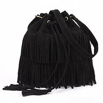 Celebrity Women Vintage Faux Suede Drawstring Fringe Tassel Shoulder Bag Girls Bucket Bag Black - BLACK BLACK