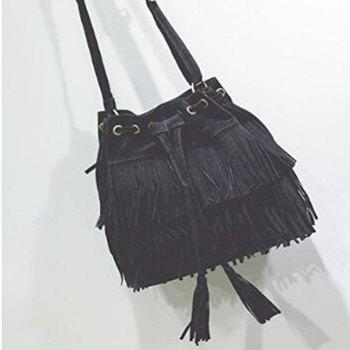 Celebrity Women Vintage Faux Suede Drawstring Fringe Tassel Shoulder Bag Girls Bucket Bag Black -  BLACK