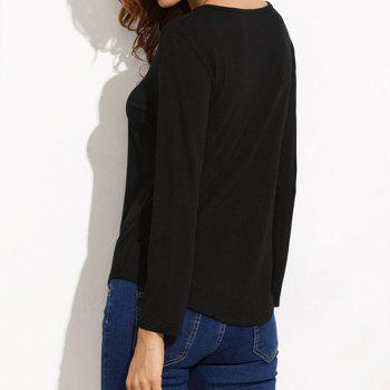 Pure Colour  Long Sleeve T-shirt - BLACK M