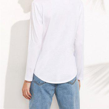 Pure Colour  Long Sleeve T-shirt - WHITE L