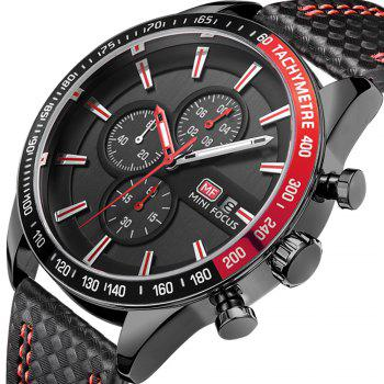 MINIFOCUSI MF0030G 1128 Business Casual Band Calender Belt Man Quartz Watch -  RED
