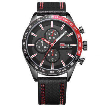 MINIFOCUSI MF0030G 1128 Business Casual Band Calender Belt Man Quartz Watch - RED RED