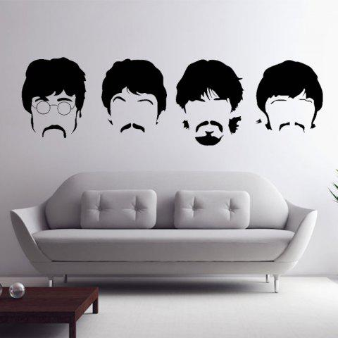 Beatles Wall Decals New Designs Removable Music The Beatles Vinyl Wall Stickers Home Decor - BLACK 58 X 197 CM