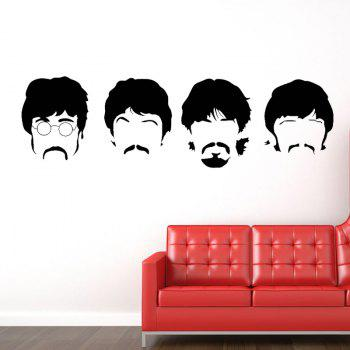 Beatles Wall Decals New Designs Removable Music The Beatles Vinyl Wall Stickers Home Decor - BLACK BLACK