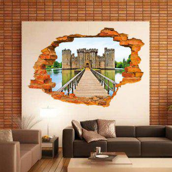 3D Ancient Castle Building PVC Wall Stickers Wooden Bridge Full Color Decals Home Decor - MIXED COLOR 60 X 90 CM