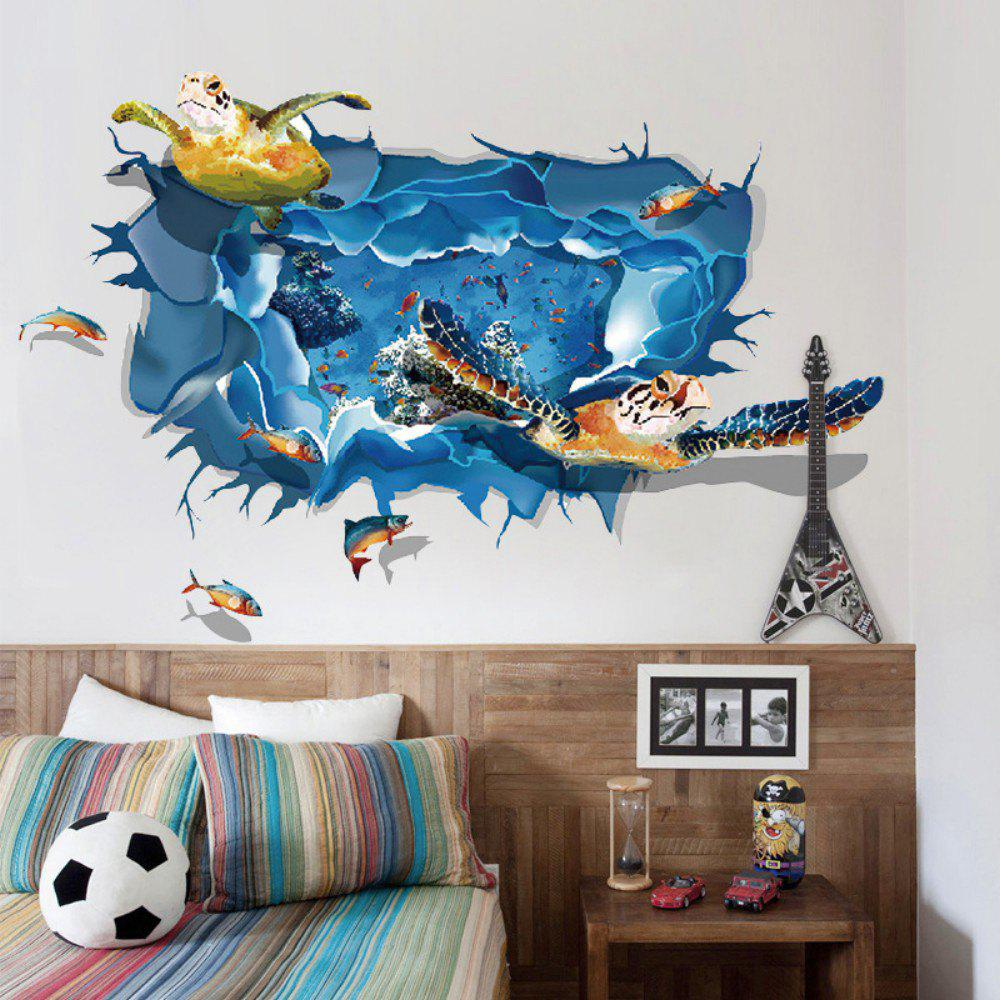 2018 sea turtle 3d wall sticker sea fishes wall decals for nursery room mixed color x cm in wall. Black Bedroom Furniture Sets. Home Design Ideas