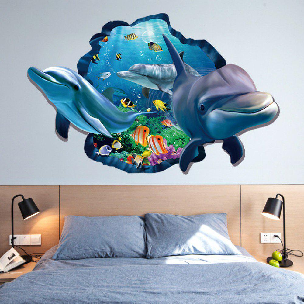 2018 3d dolphin underwater wall sticker sea scenery decals - 3d vinyl wandtattoo ...