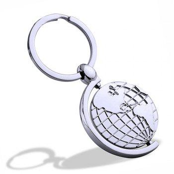 Rotary Metal Globe Key chains Creative Personality Gift  Key Ring Pendant - SILVER SILVER