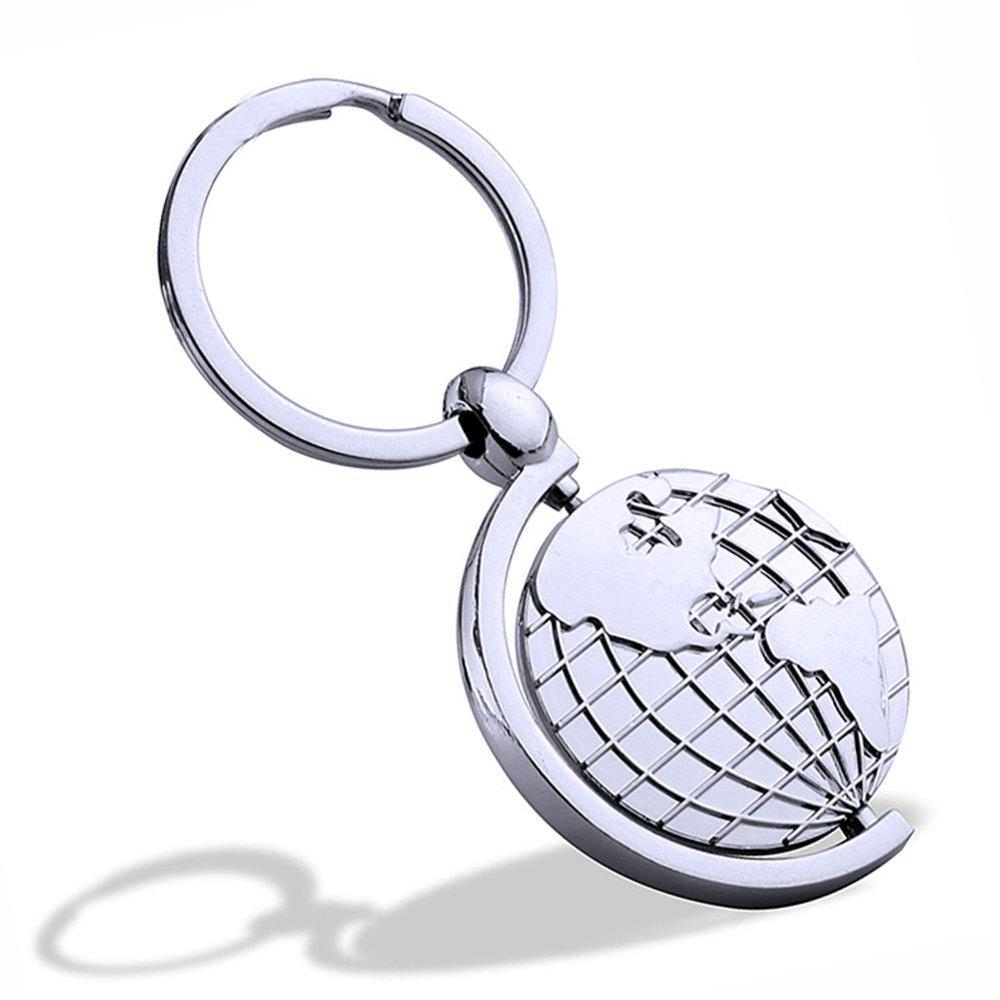 Rotary Metal Globe Key chains Creative Personality Gift  Key Ring Pendant - SILVER