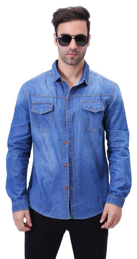 Fashion Pocket Decorations for Men'S Long Sleeved Jeans Shirt - CERULEAN XL